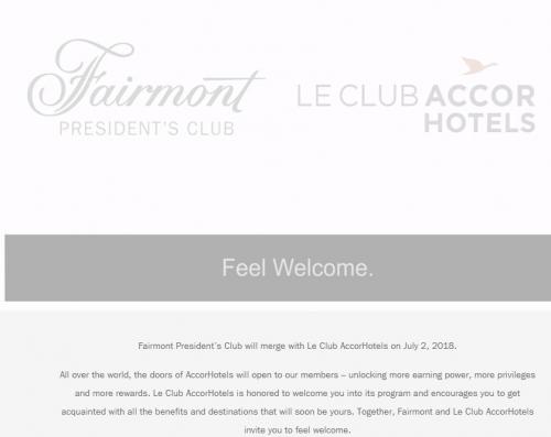 フェアモントプレジデントクラブは、2018年7月2日にアコーホテルズになります。