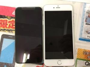 iPhone6sPlusとiPhoneXのサイズ比較