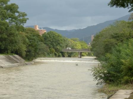 台風通過翌日の石手川 2