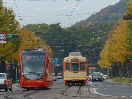 花園町・イチョウの黄葉と市内電車 1