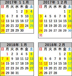 2017-2018冬の現美新幹線の運転日