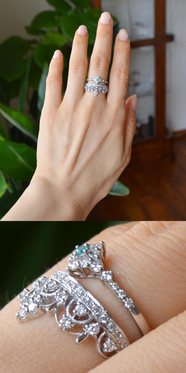 プラチナパライバダイアモンドリングティアラリング重ねづけ指輪