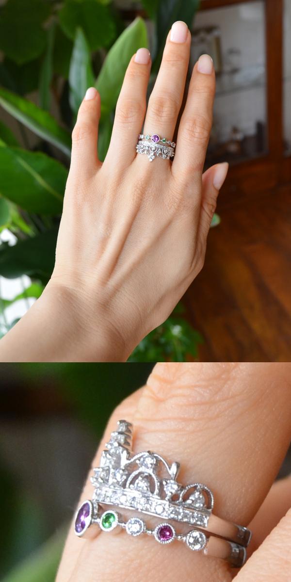 パープルガーネットダイアモンドティアラリング重ね付け指輪
