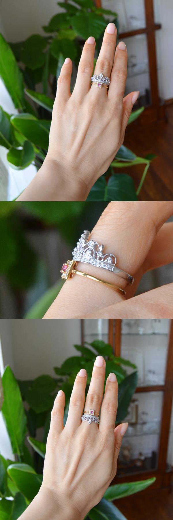 ティアラリングピンクトルマリンダイアモンド指輪重ね付け