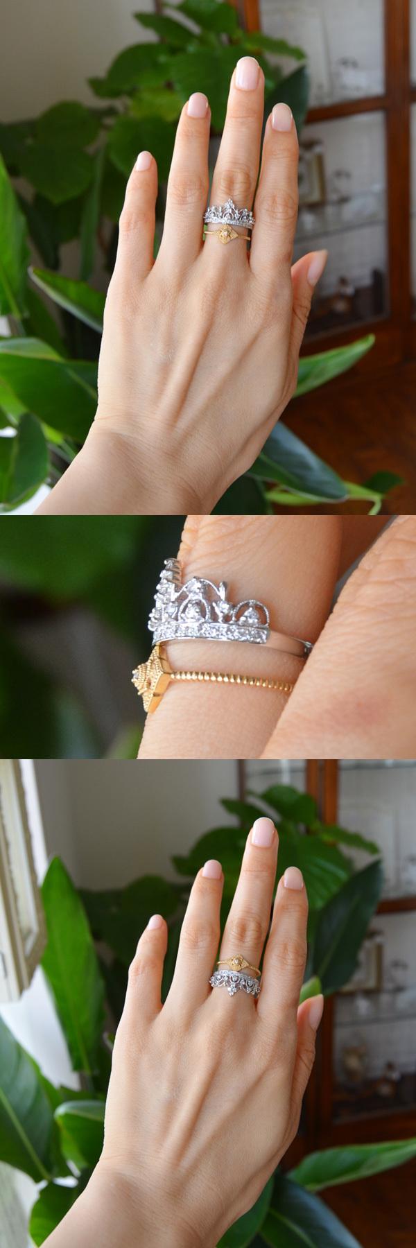 ティアラリングK18ダイアモンド菱形モチーフ指輪重ね付け