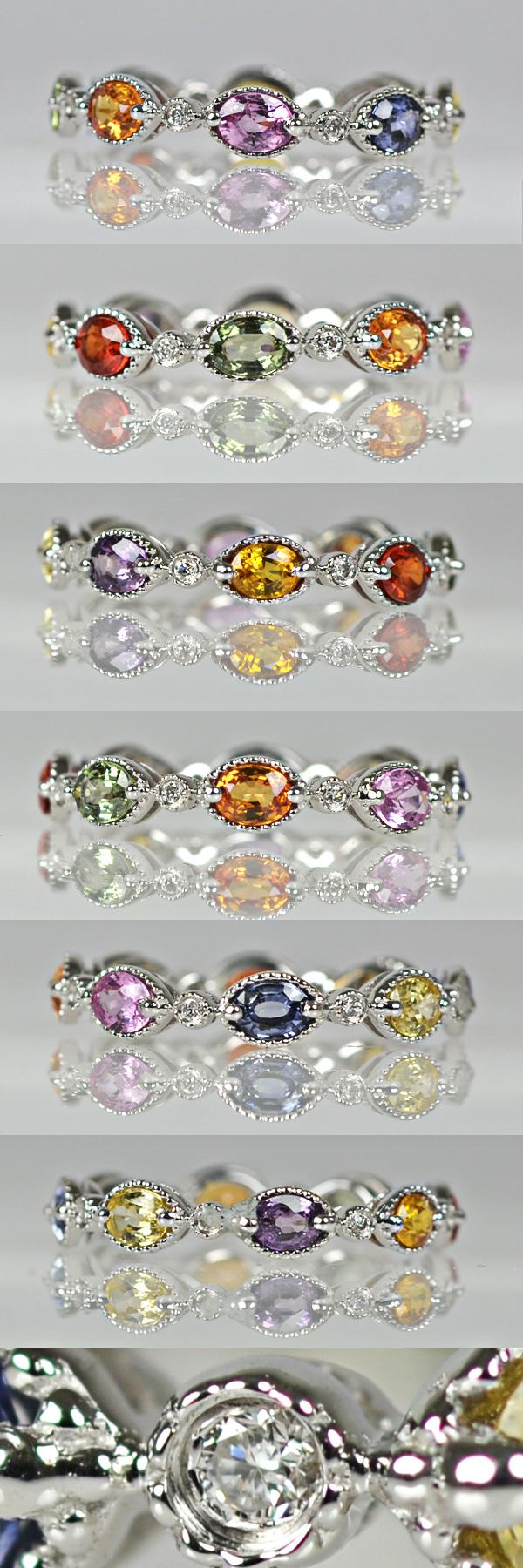 K18WG製カラーサファイア・ダイアモンドフルエタニティリング指輪