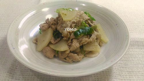 大根と豚肉の生姜ポン酢炒め