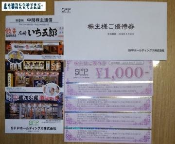 SFPホールディングス 優待券 4000 201708