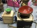アンティーク吊り照明(通電ok)、七宝茶器、ガラス花入れ、水のみ、香炉他 m5