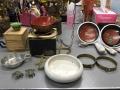 アンティーク吊り照明(通電ok)、七宝茶器、ガラス花入れ、水のみ、香炉他 m3