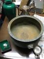 アンティーク吊り照明(通電ok)、七宝茶器、ガラス花入れ、水のみ、香炉他 m