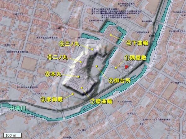 盛岡城地形図