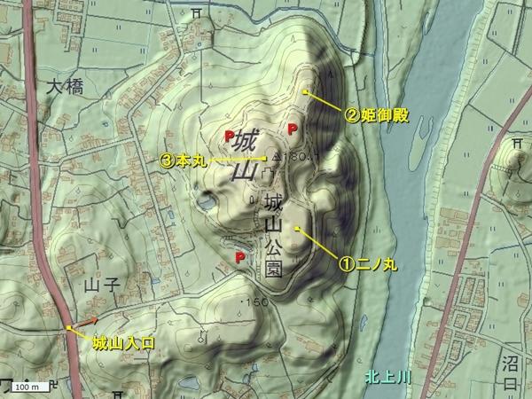 高水寺城地形図