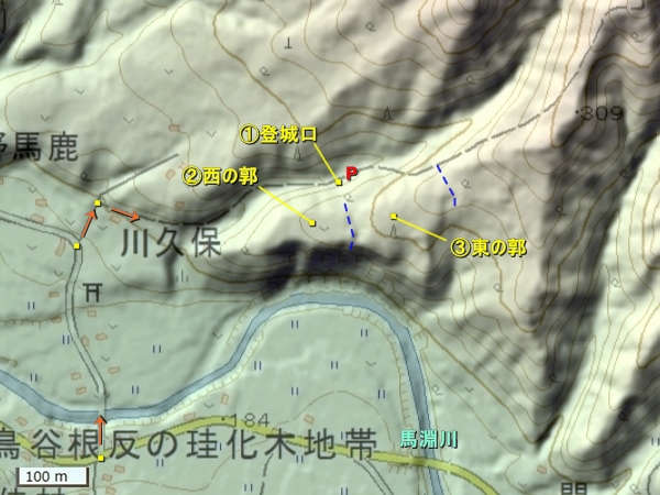 姉帯城地形図