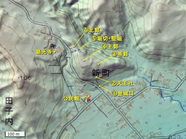 久慈城地形図