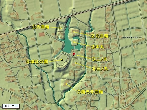 女渕城地形図