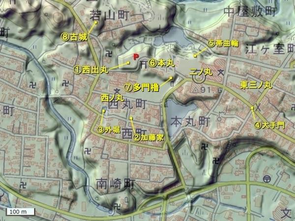 伊勢亀山城地形図