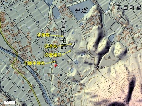 柏原城地形図