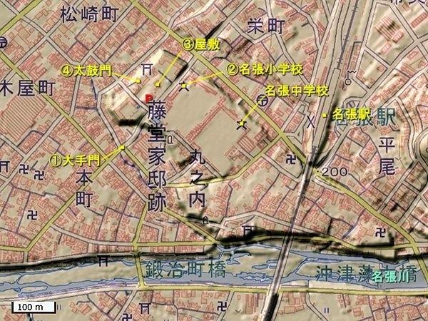 名張陣屋地形図