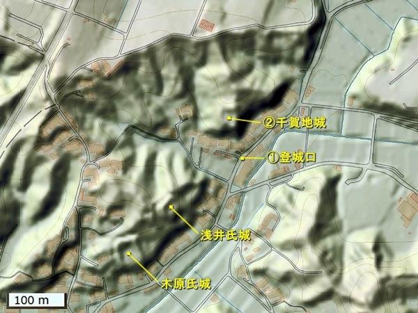 千賀地城地形図