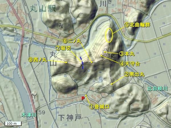 丸山城地形図
