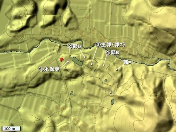 百地氏城地形図
