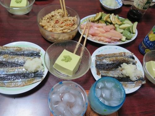 三陸さんま3種、アボカド豆腐、岩下の新しょうが&子メロン漬け