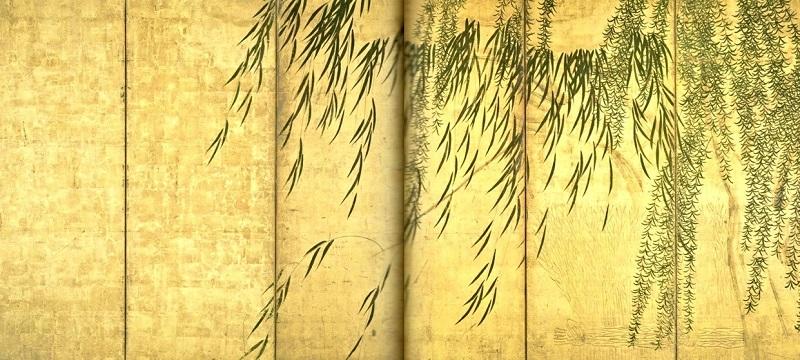 四季柳図屏風・長谷川等伯(桃山)個人蔵