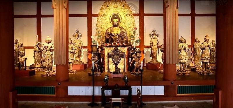 興福寺仮講堂「天平乾漆群像展」安置風景