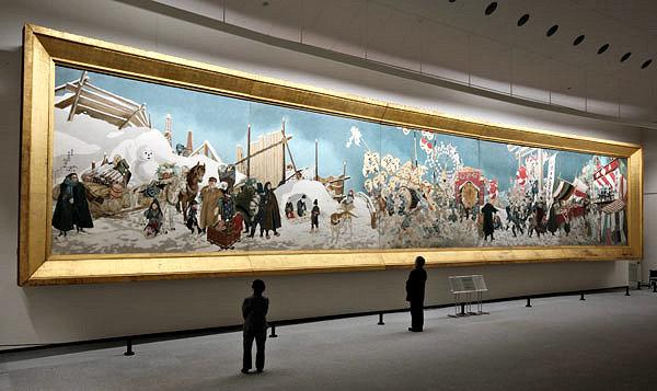 県立美術館に展示される大壁画「秋田の行事」