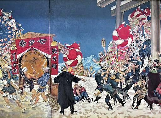 藤田嗣治画「秋田の行事」の部分