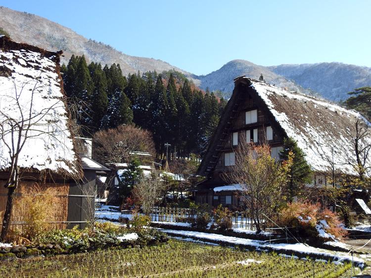 まだ少し残る紅葉と雪の景色がとてもキレイです白川郷11