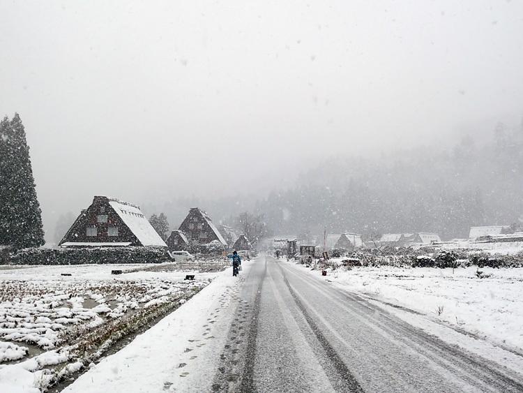 今日は湿った雪が降っており、視界が。。白川郷7