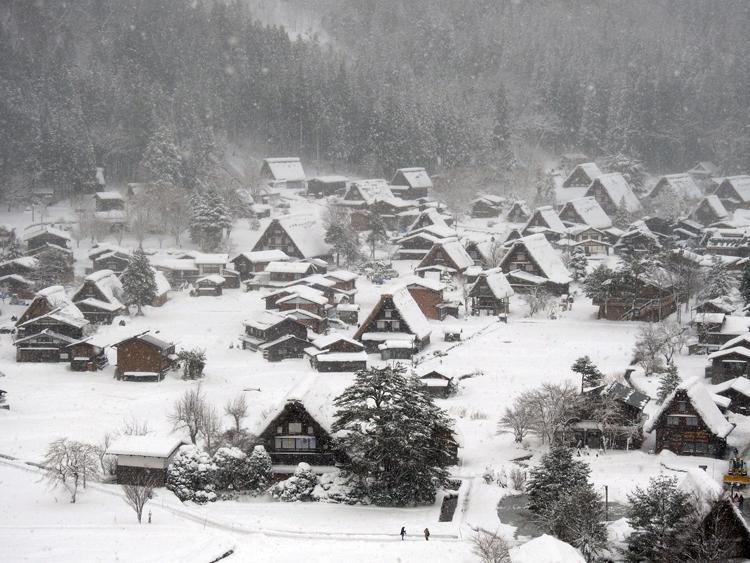 今季初のまとまった雪が降り、白い世界に包まれた白川郷5
