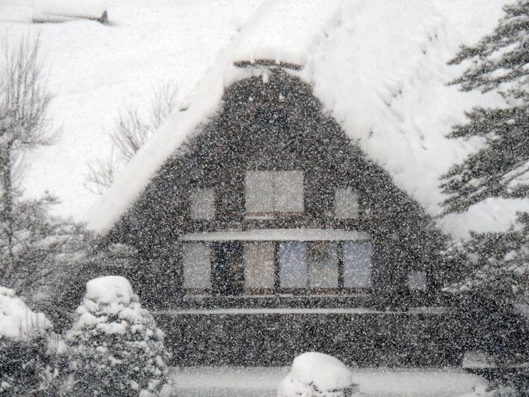 今季初のまとまった雪が降り、白い世界に包まれた白川郷6