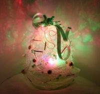 手作りシャイニーポットの中のLEDエッグライトで輝くクリスマスツリー工作飾り