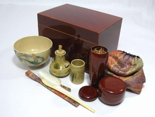 飛騨春慶塗 茶箱揃い 象牙茶杓等 未使用 茶道具