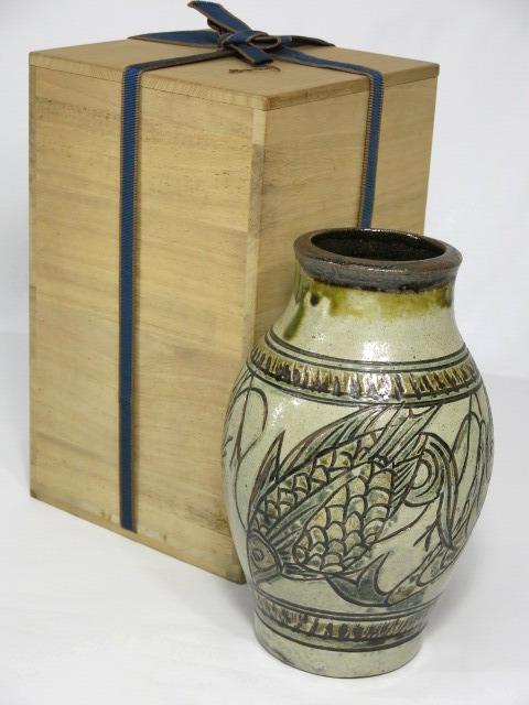 人間国宝 金城次郎 海老 魚文 花瓶