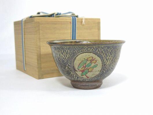 人間国宝 島岡達三 象嵌赤絵草花文 小鉢 茶道具