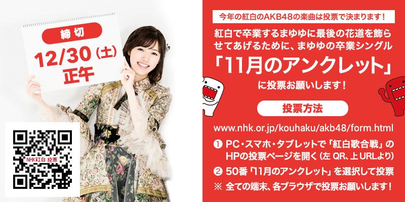 【NHK紅白投票】『11月のアンクレット』チラシと共通タグのお知らせ