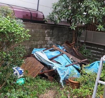 台風21号で小屋倒壊