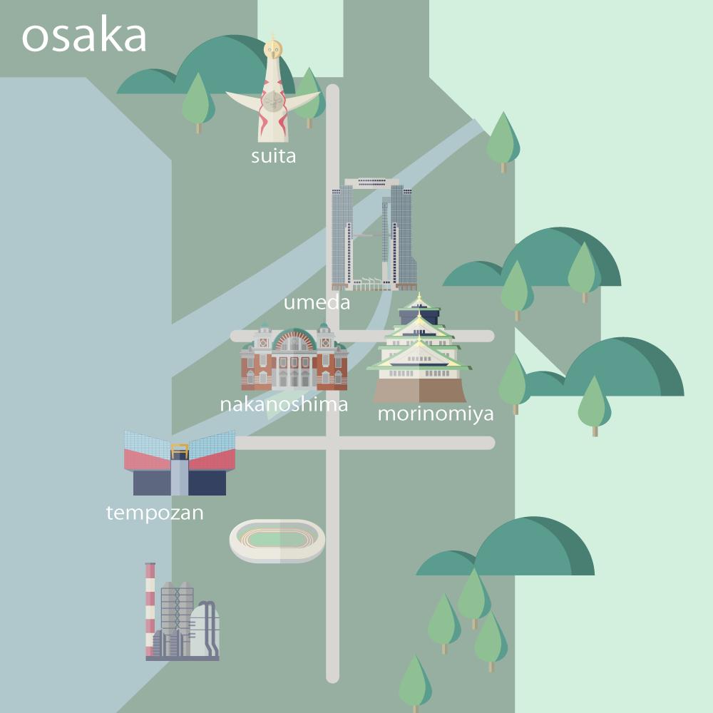 大阪イラストマップ
