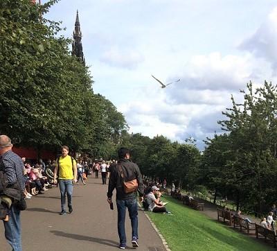 公園を歩く旦那 (1)