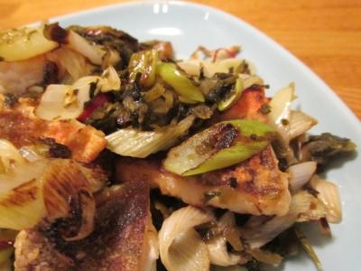 ホウボウの高菜炒めアップ1