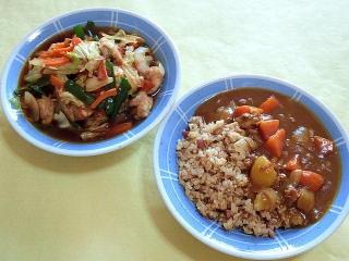 170929_4890 鶏もも肉と野菜の黒酢あん炒め・炒飯+カレーVGA