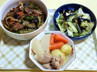 171006_4895 麻婆茄子・茄子とキャベツの浅漬け・根菜と鶏肉の和風煮物VGA