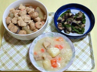 171013_4902 プチ高野豆腐入り鶏団子汁・茄子とピーマンの胡麻和え・クリームシチューVGA
