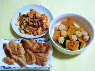 171130_4976 キャベツのコチュジャン炒め・かぼちゃと肉団子の和風煮物・豚ヒレの一口カツVGA