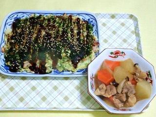 171204_4986 お好み焼きx2・鶏肉と根菜の和風煮物_VGA