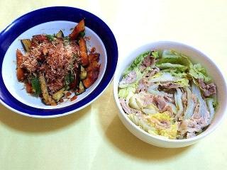 171218_5012 かぼちゃ&茄子&ピーマンの揚げ浸し・白菜と豚肉のミルフィーユ蒸し_VGA